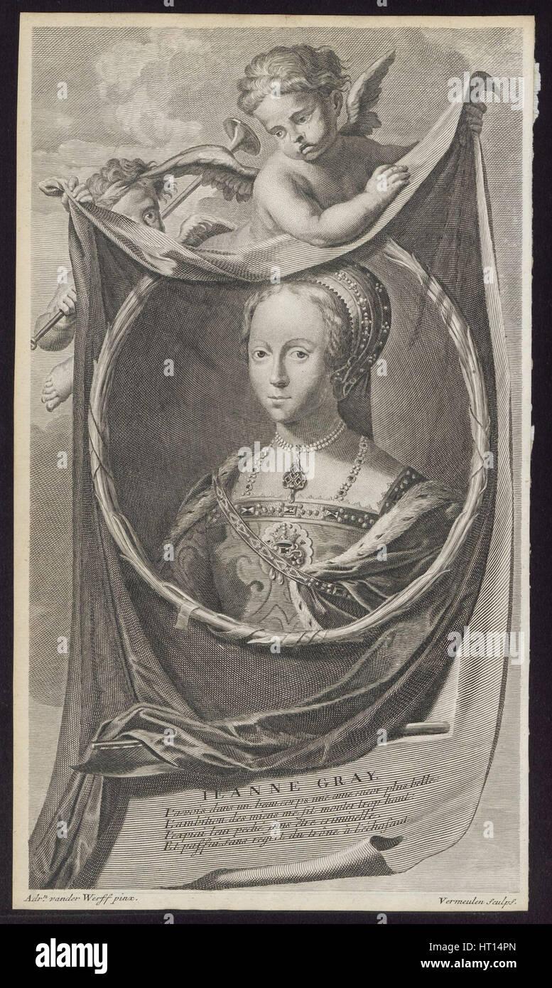 Jane Grey, 1697. Artist: Vermeulen, Cornelis Martinus (1644-1708) - Stock Image