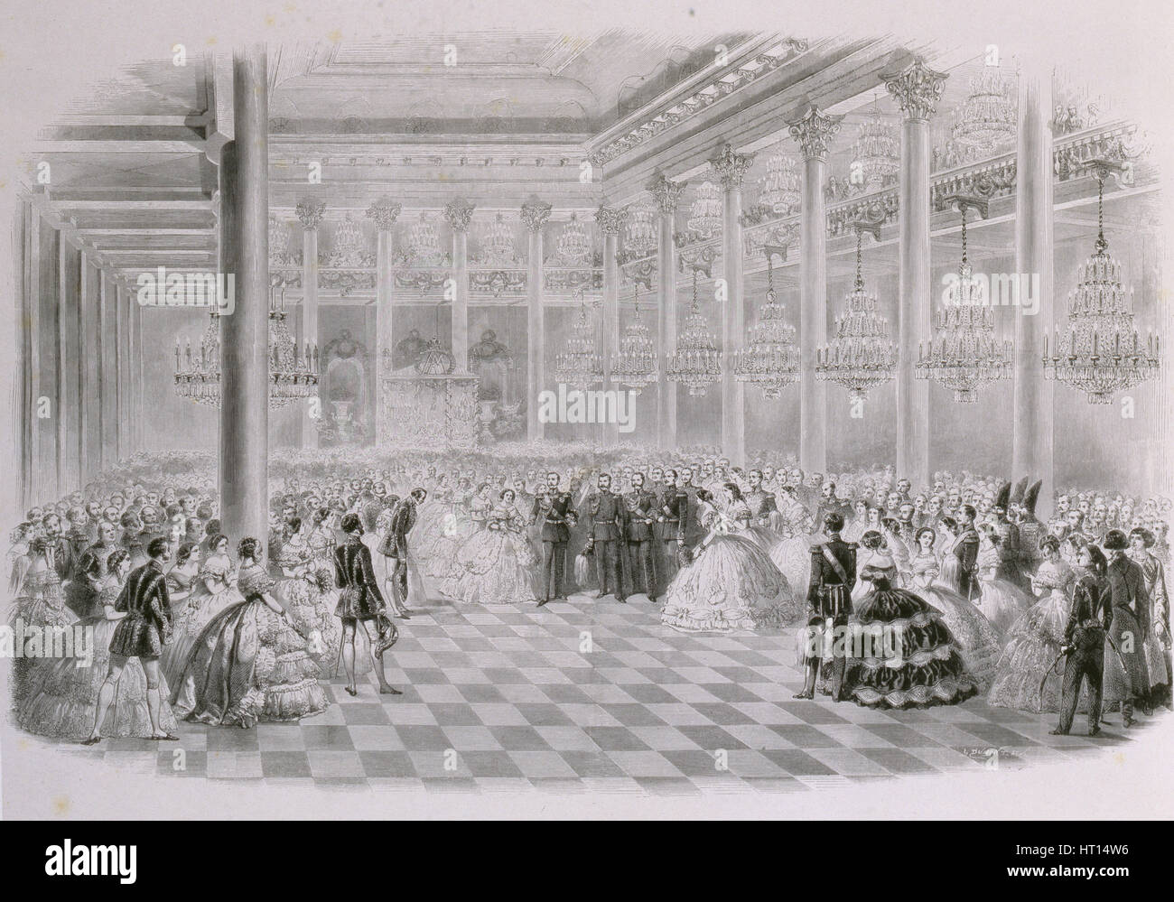 Ball in the Hall of the Russian Assembly of Nobility on the occasion of the coronation of Emperor Al Artist: Zichy, - Stock Image