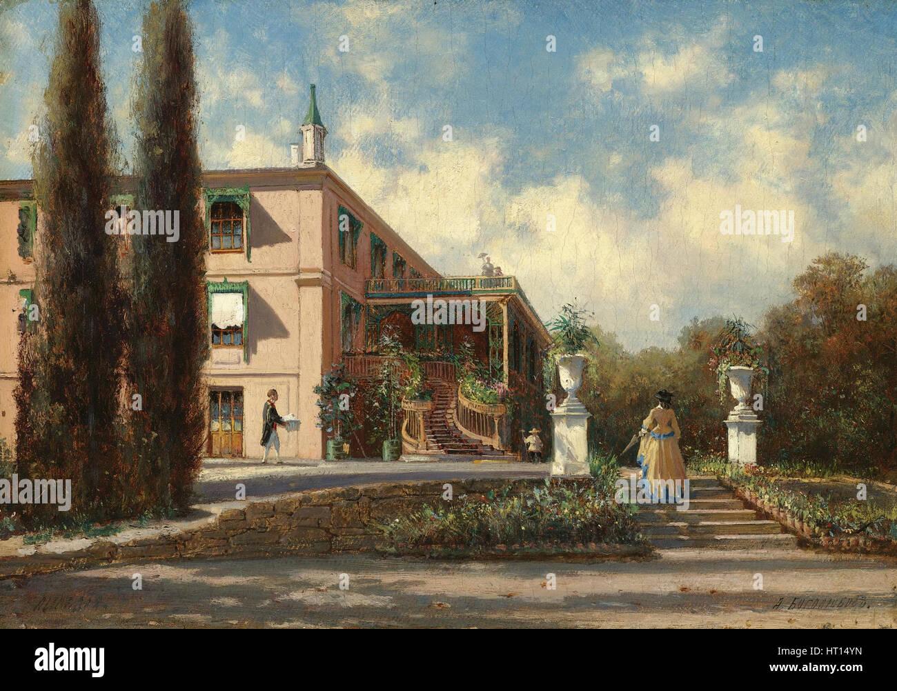 The Livadiya palace. Artist: Bogolyubov, Alexei Petrovich (1824-1896) - Stock Image