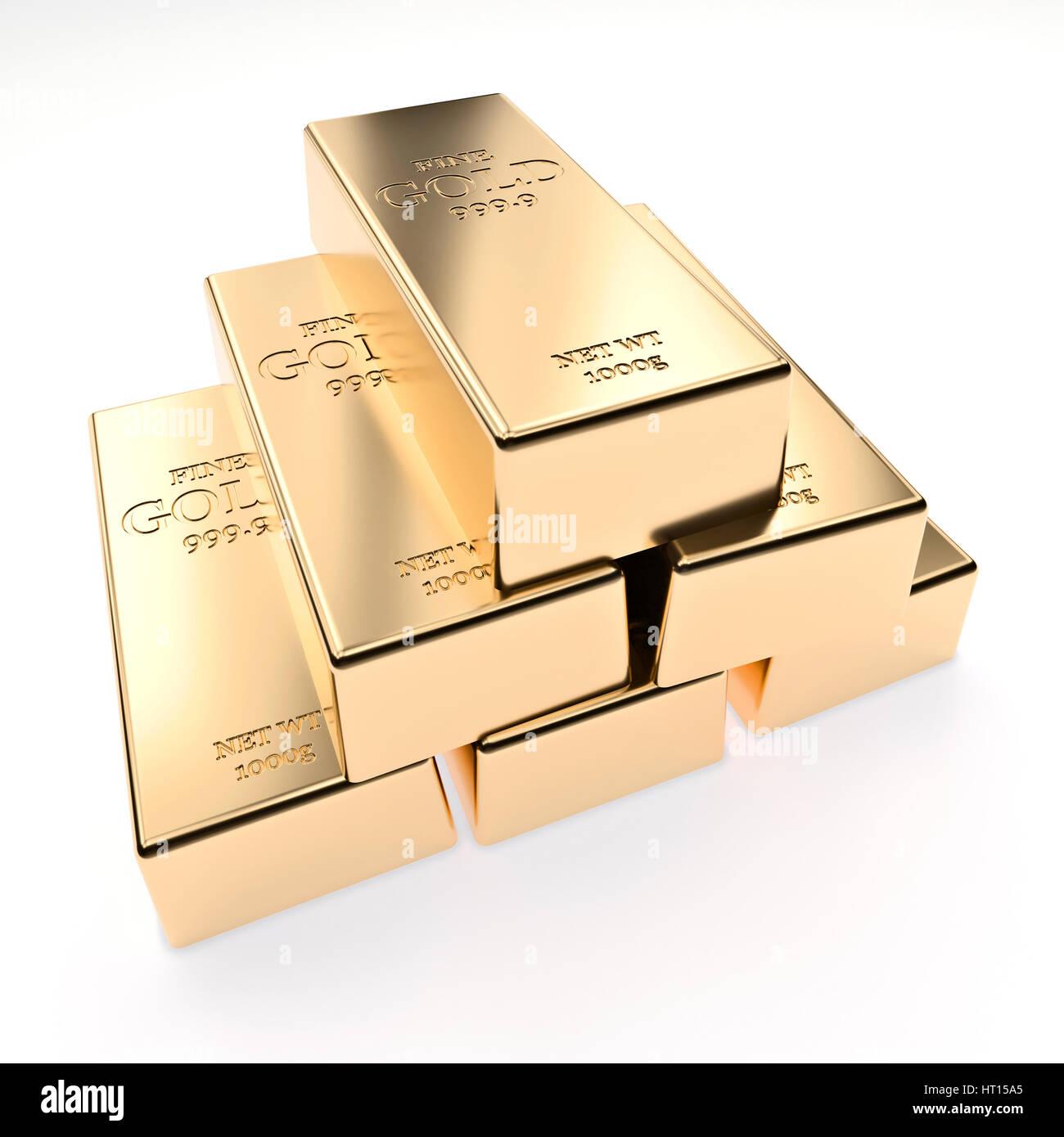 classic gold ingot 3d rendering image - Stock Image