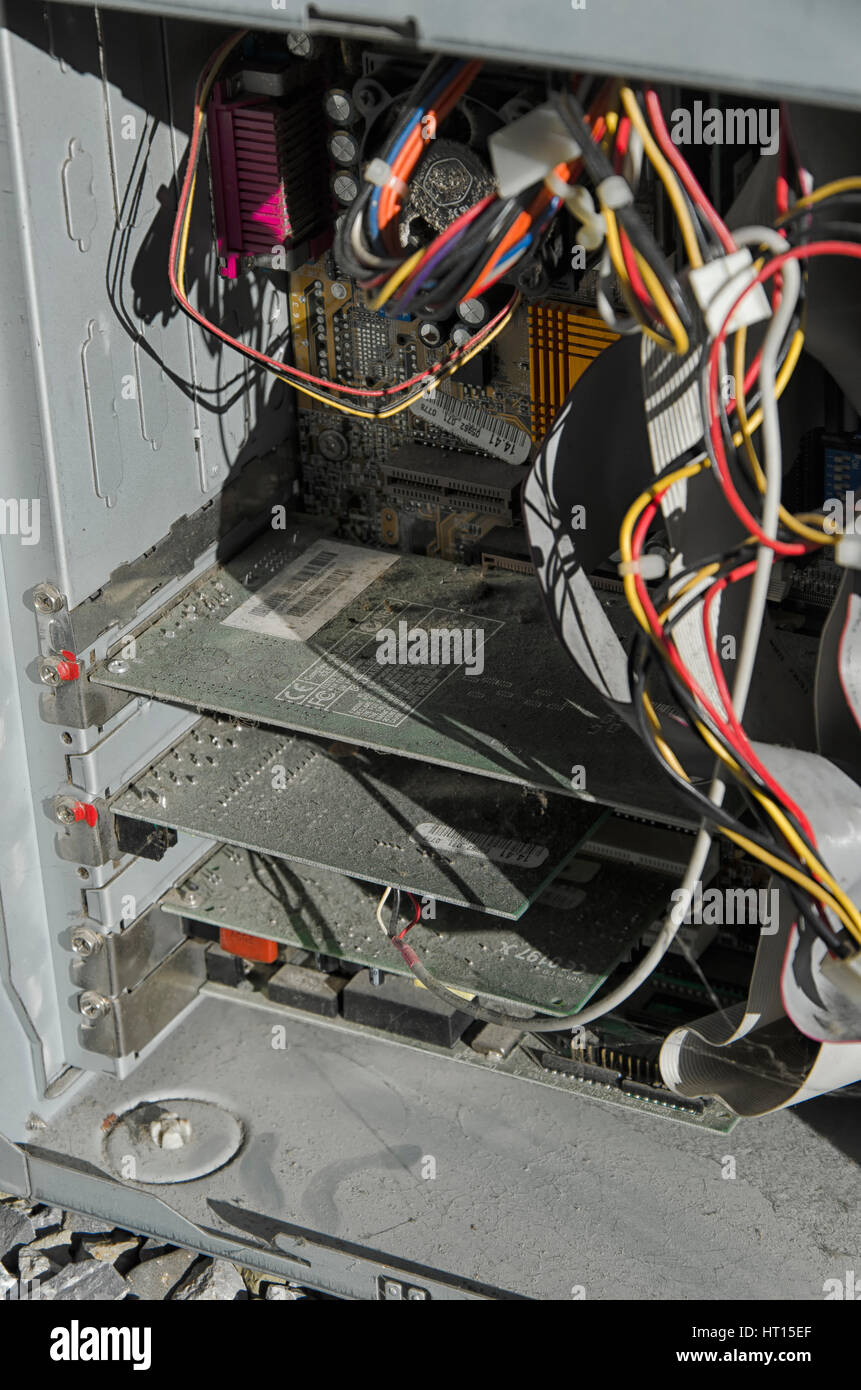 Old Computer Wires   Graphic Card Wires And Other Components Of An Old Computer Stock