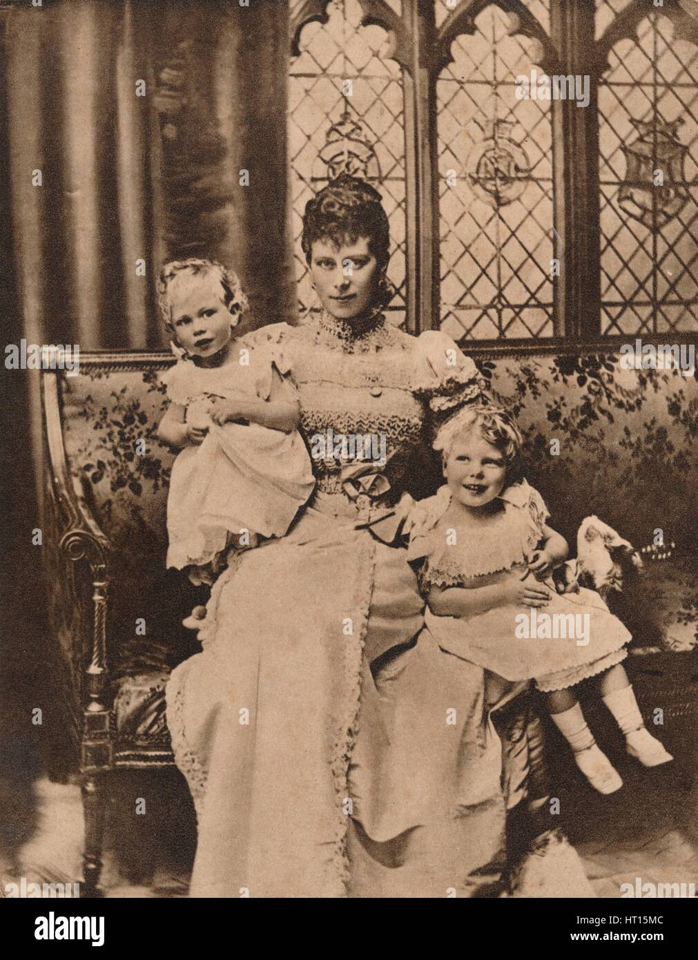 The Duchess of York with her two sons, Princes Edward and Albert, c1897 (1935). Artist: Unknown. - Stock Image