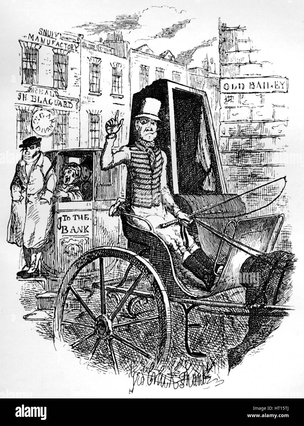 'The Last Cab Driver, and the First Omnibus Cad', c1900. Artist: George Cruikshank. - Stock Image