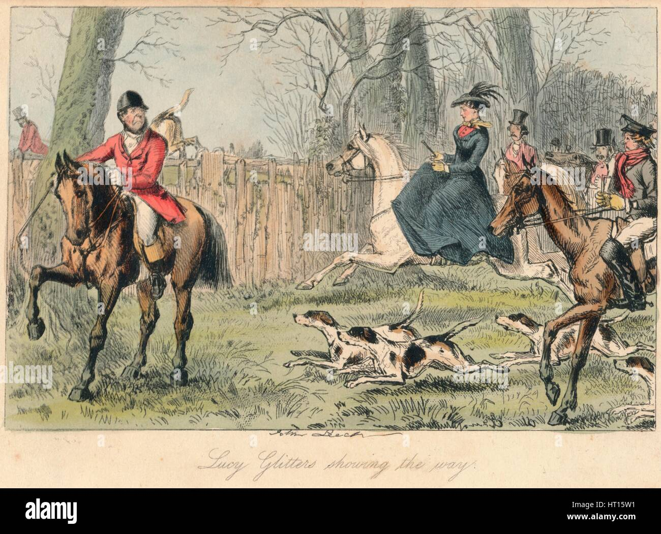 'Lucy Glitters showing the way', 1865. Artists: John Leech, Hablot Knight Browne. - Stock Image