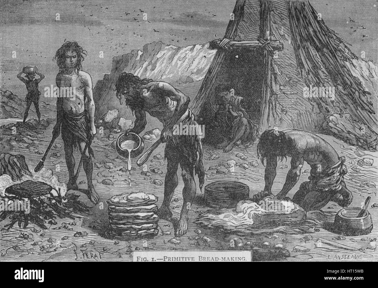 Primitive breadmaking, 1894. Artist: Unknown. - Stock Image