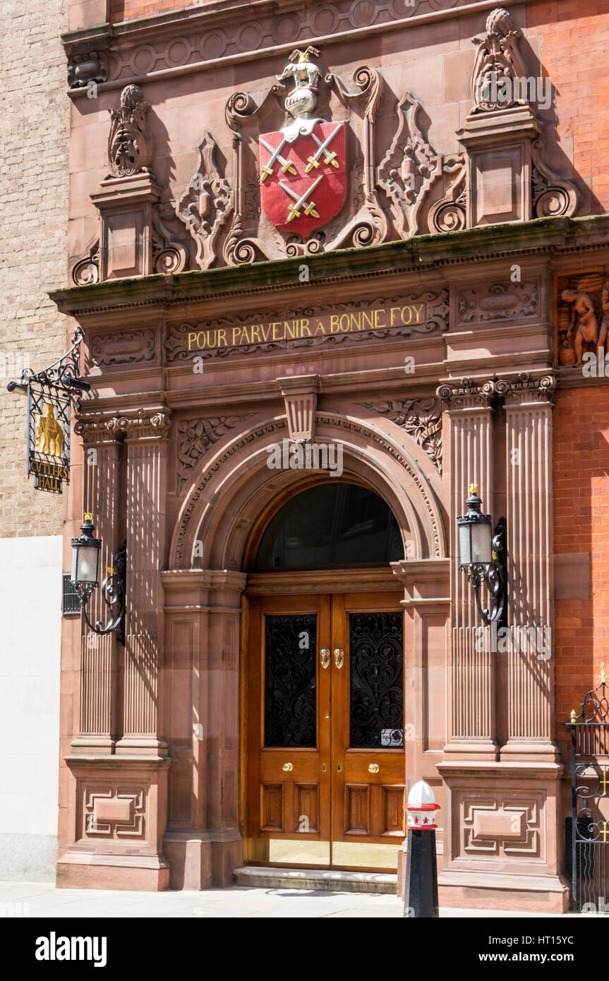 Entrance to Cutlers' Hall - the home of the Worshipful Company of Cutlers, one of the Livery Companies of the - Stock Image