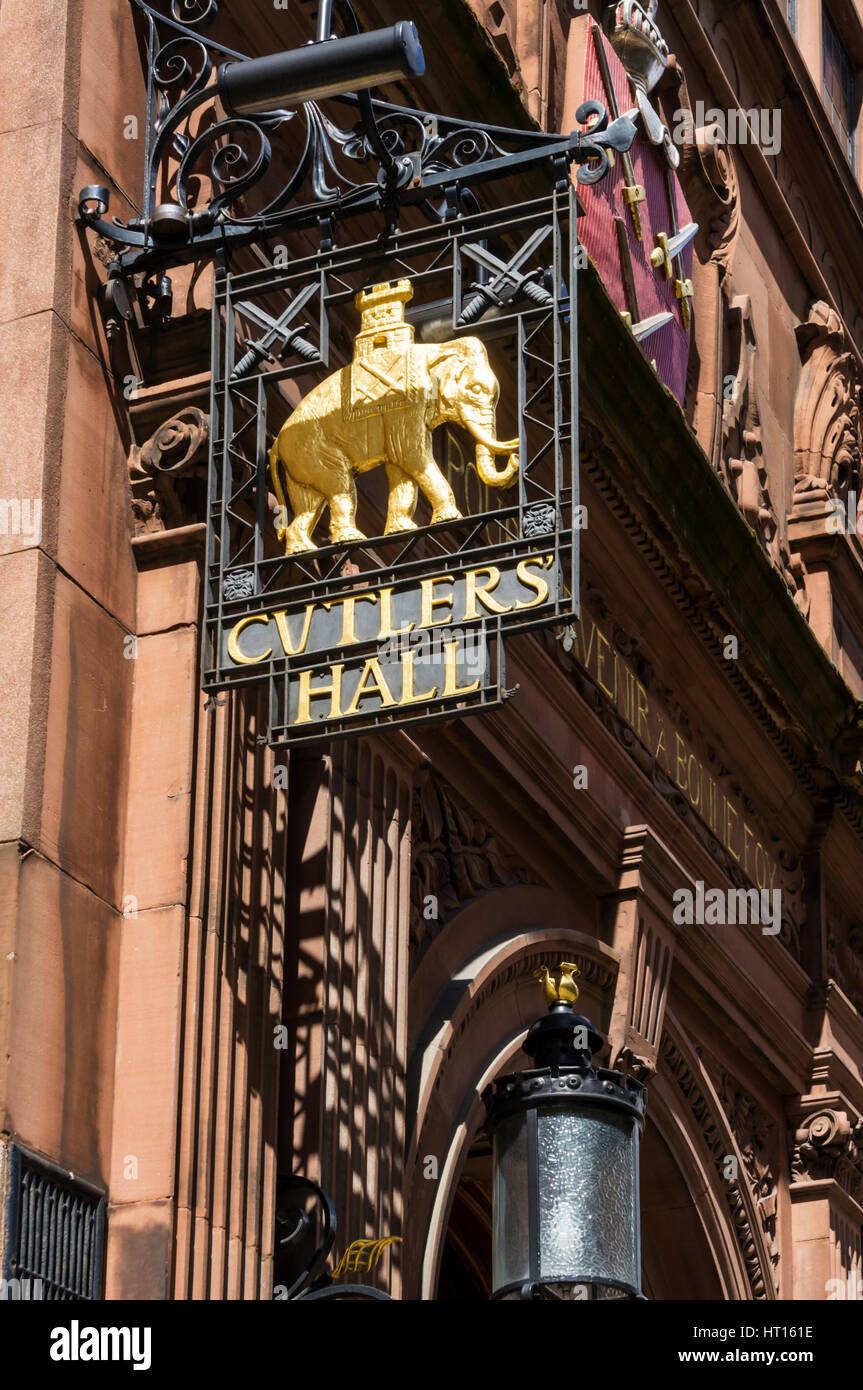 Sign for Cutlers' Hall - the home of the Worshipful Company of Cutlers, one of the Livery Companies of the City - Stock Image