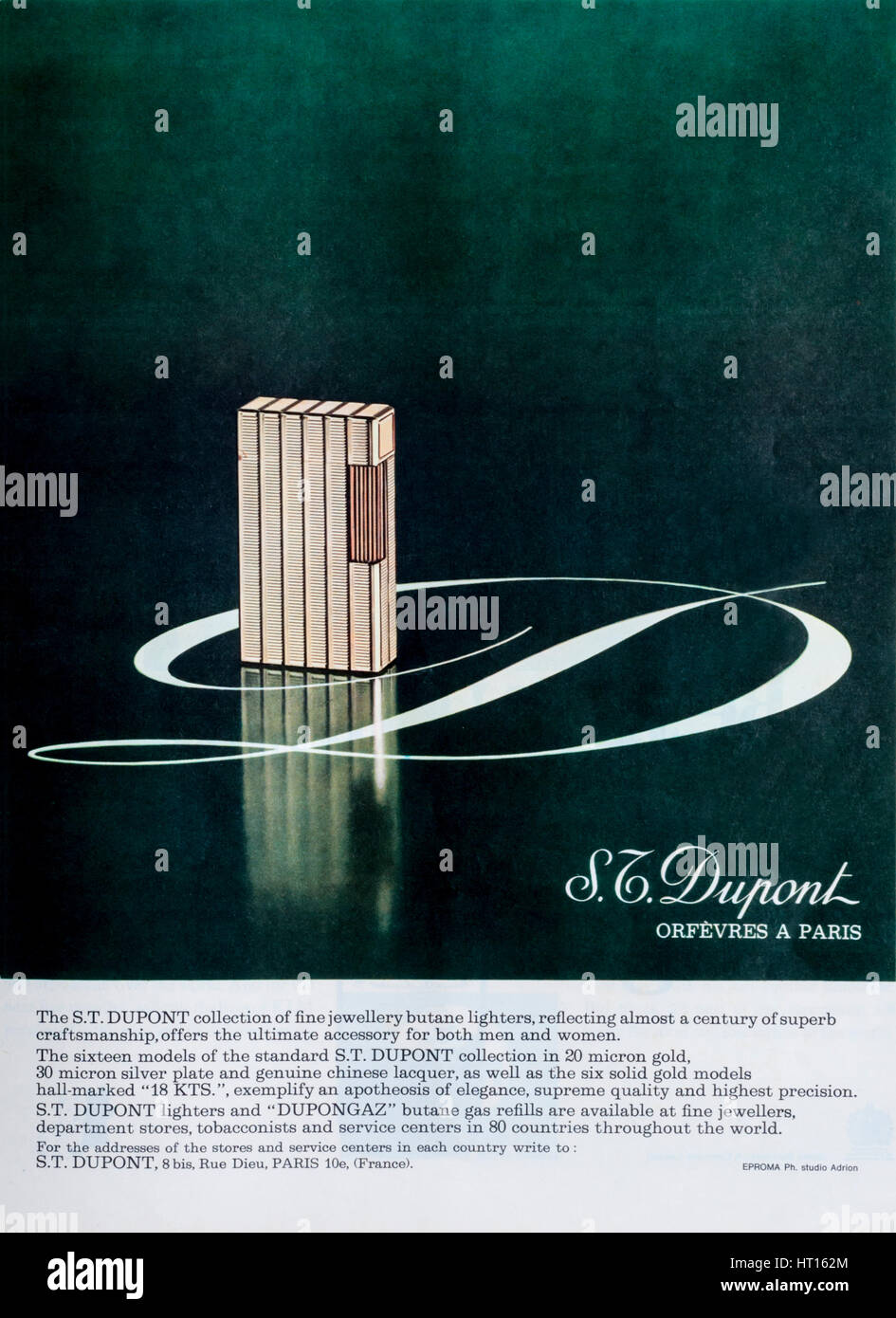 A 1960s magazine advertisement for Dupont luxury cigarette lighters. - Stock Image