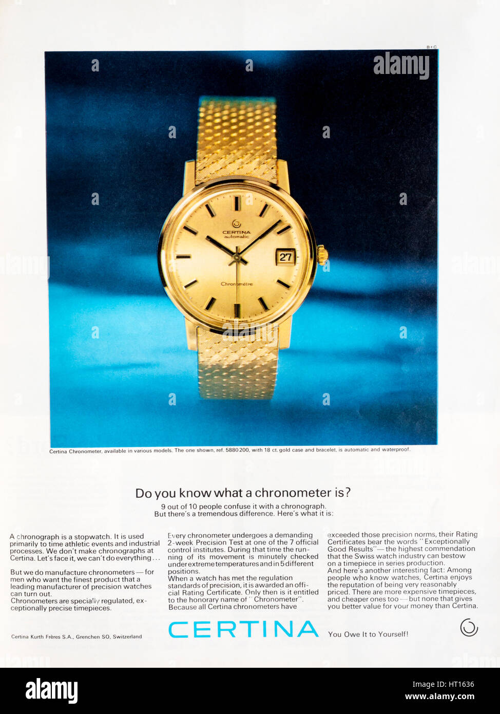 A 1960s magazine advertisement for Certina luxury watches or chronometers. - Stock Image