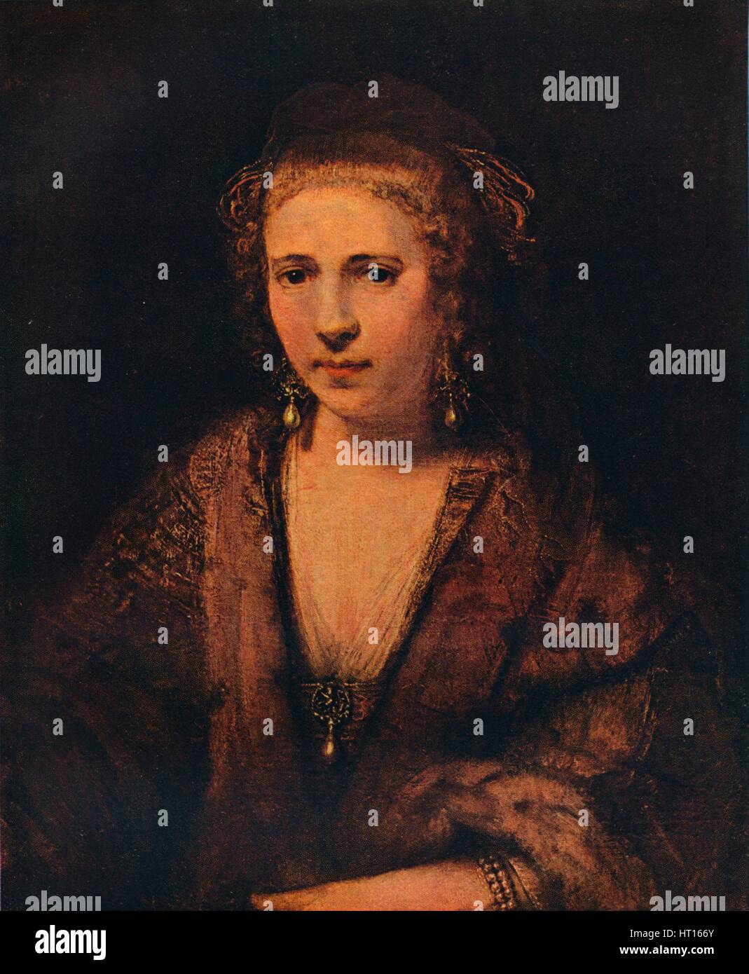 'Portrait of Hendrickje Stoffels with a Velvet Beret ', c1654. Artist: Rembrandt Harmensz van Rijn. - Stock Image
