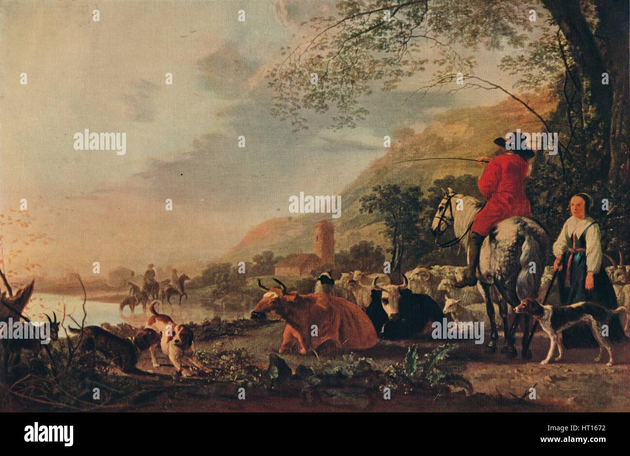 'A Hilly Landscape with Figures', c1655. Artist: Aelbert Cuyp. - Stock Image