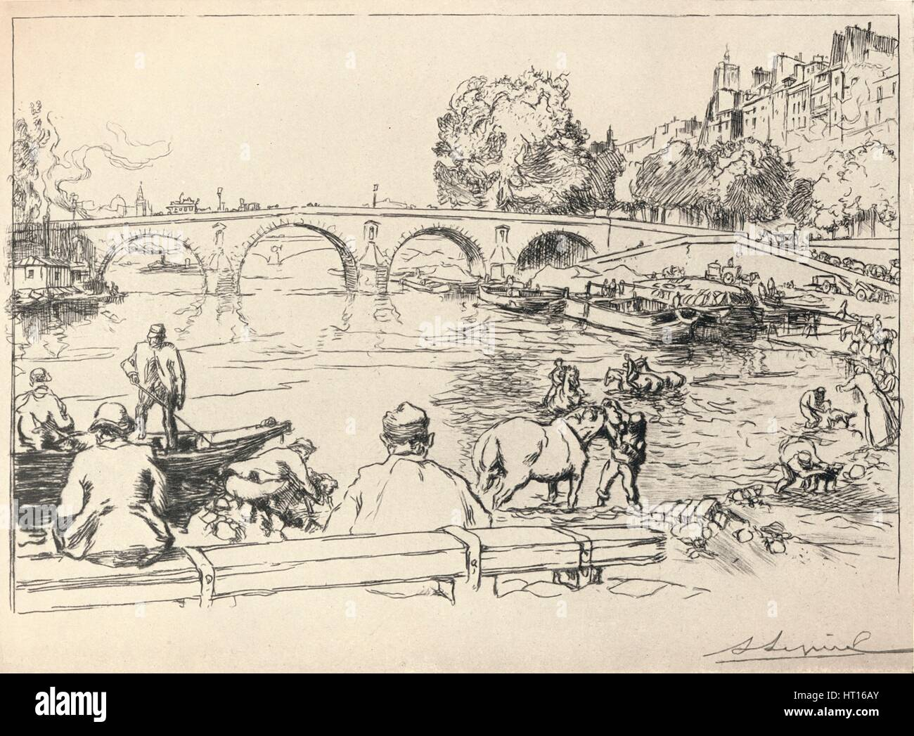 'The Watering Place at the Pont Marie', 1915. Artist: Auguste Lepere. - Stock Image