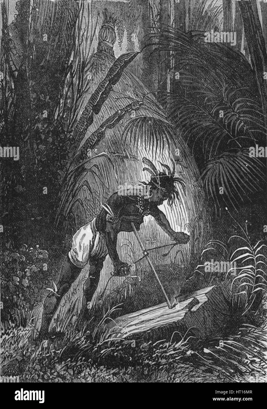 An Indian obtaining fire by friction, 1894. Artist: Unknown. - Stock Image