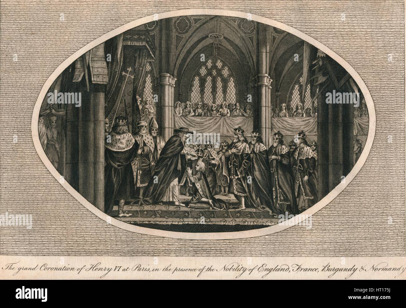 The grand coronation of Henry VI of England in Paris, 1431 (1793). Artist: Unknown. Stock Photo
