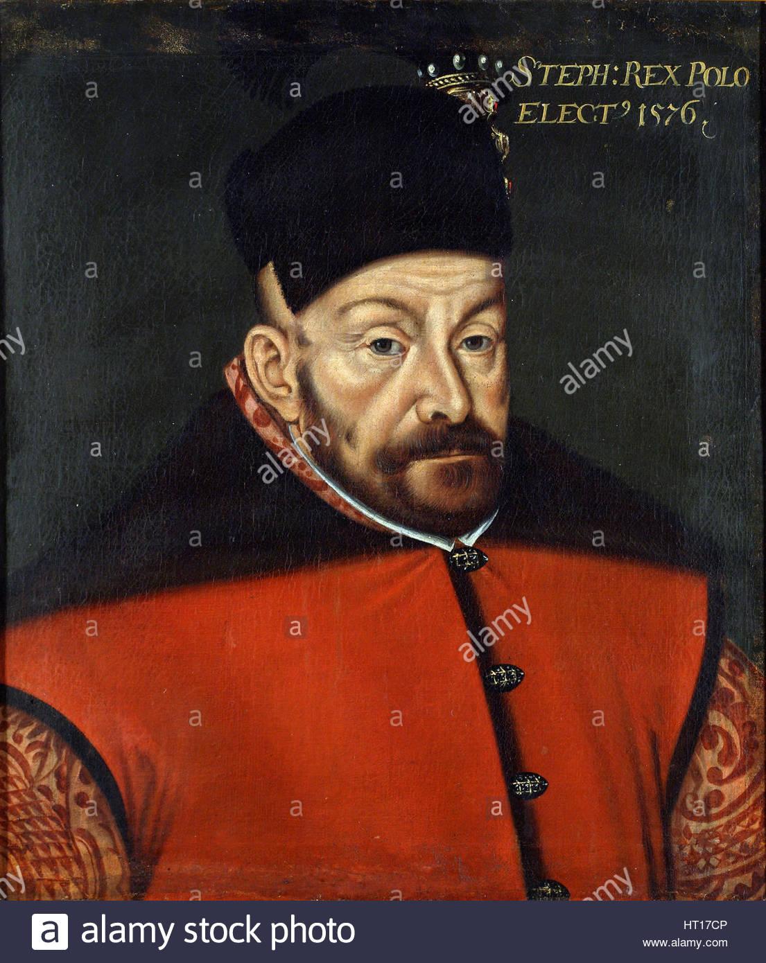 Portrait of Stephen Báthory of Poland, 1576. Artist: Anonymous - Stock Image