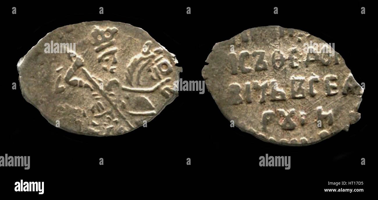 Silver kopek of the Tsar Boris Godunov, 1599. Artist: Numismatic, Russian coins - Stock Image