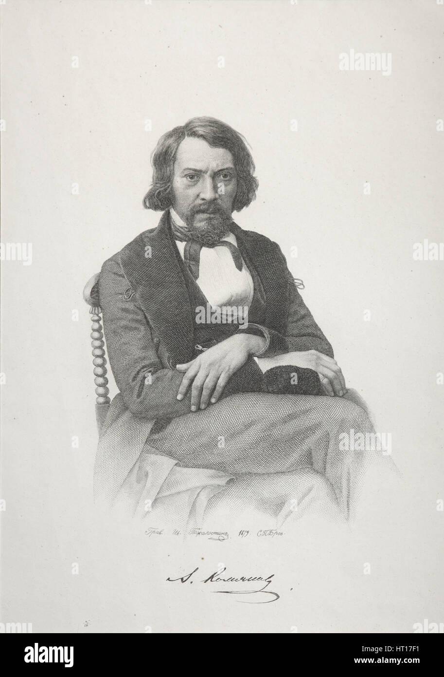 Portrait of Aleksey Stepanovich Khomyakov, 1879. Artist: Pozhalostin, Ivan Petrovich (1837-1909) - Stock Image