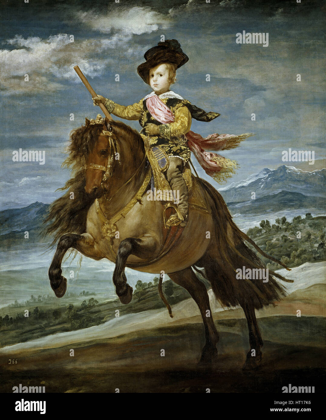 Equestrian Portrait of Prince Balthasar Charles, c. 1635. Artist: Velàzquez, Diego (1599-1660) - Stock Image