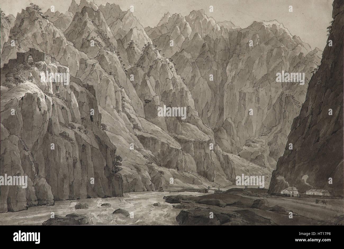 The Darial Gorge, 1830. Artist: Chernetsov, Nikanor Grigoryevich (1805-1879) - Stock Image