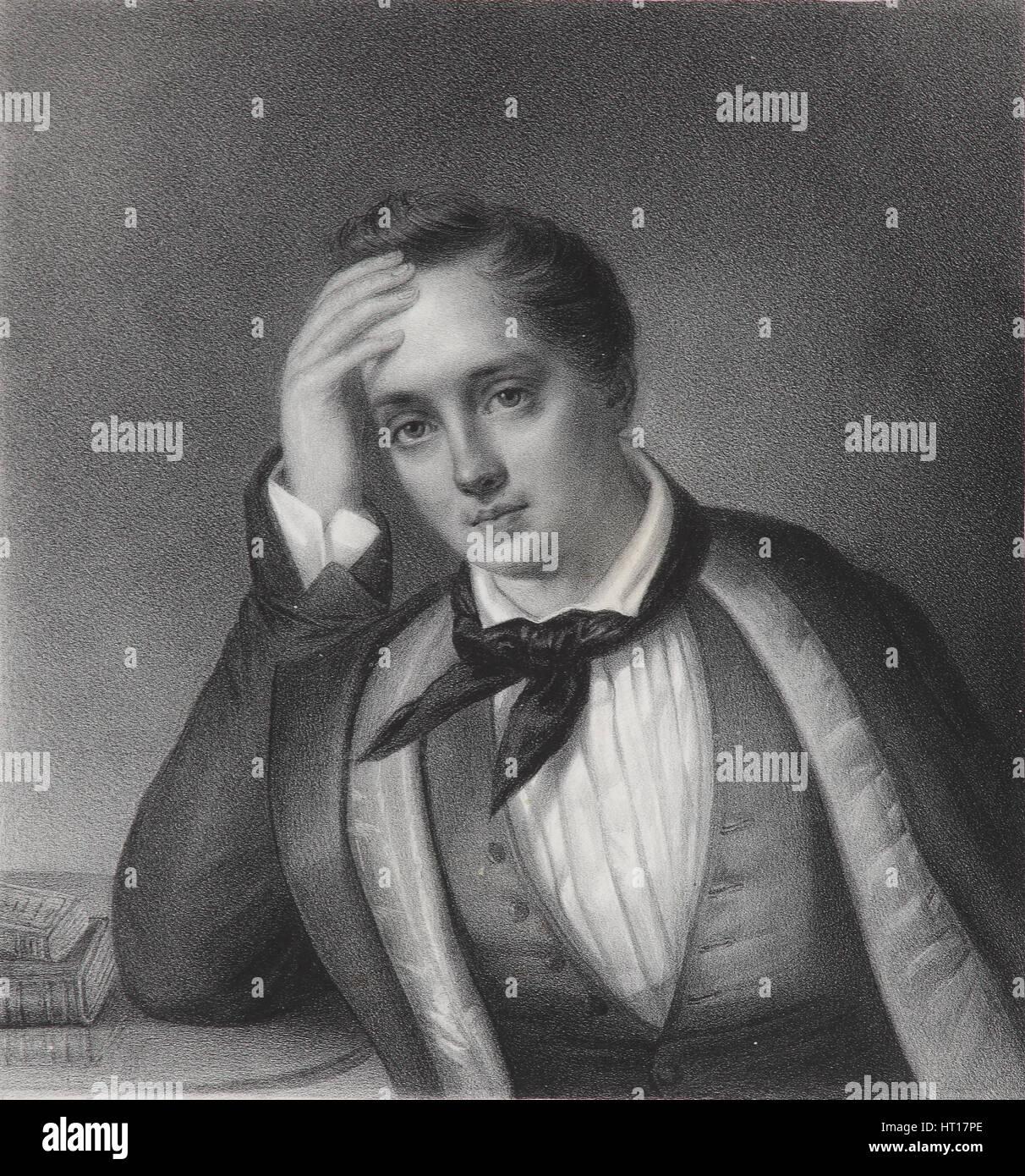 Portrait of the poet Yevgeny Abramovich Baratynsky (1800-1844), 1830s. Artist: Chevalier, Ferdinand (active Mid - Stock Image