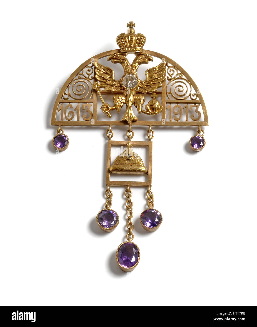 Pendant to the 300th Anniversary of the Romanov Dynasty, 1913. Artist: Holmström, Albert, (Fabergé manufacture) - Stock Image