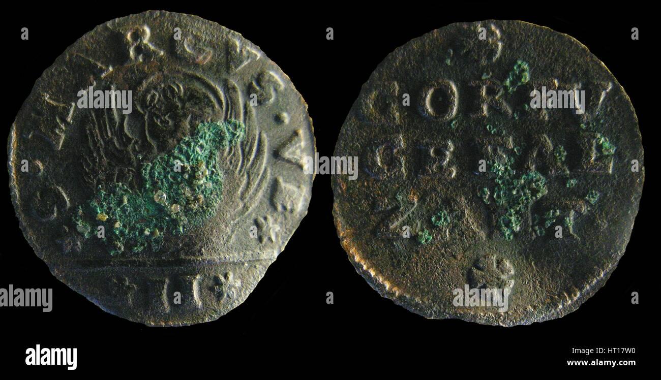 Venetian colonial gazzetta (coin) of the Ionian Islands. (A gazzetta = 2 soldi), 1710-1724. Artist: Numismatic, - Stock Image