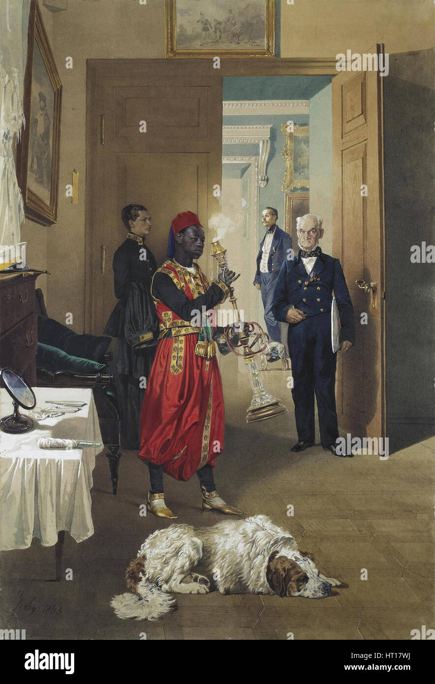 Foyer of the Great Palace in Tsarskoye Selo, 1865. Artist: Zichy, Mihály (1827-1906) - Stock Image