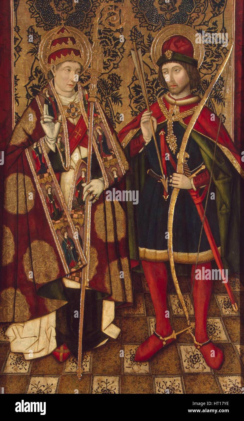 Saints Fabian and Sebastian, 1475-1499. Artist: Anonymous - Stock Image