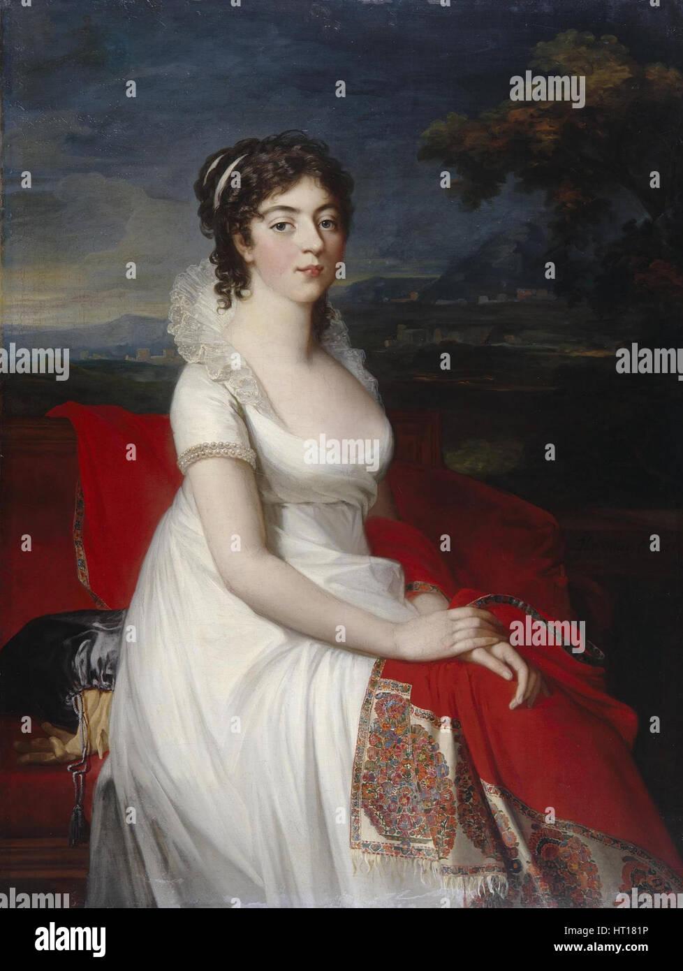 Portrait of Countess Obolenskaya, 1806. Artist: Mosnier, Jean Laurent (1743/44-1808) - Stock Image