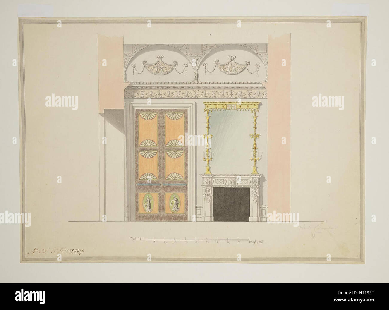 Design of the Cabinet Library, Early 1780s. Artist: Cameron, Charles (ca. 1730/40-1812) - Stock Image