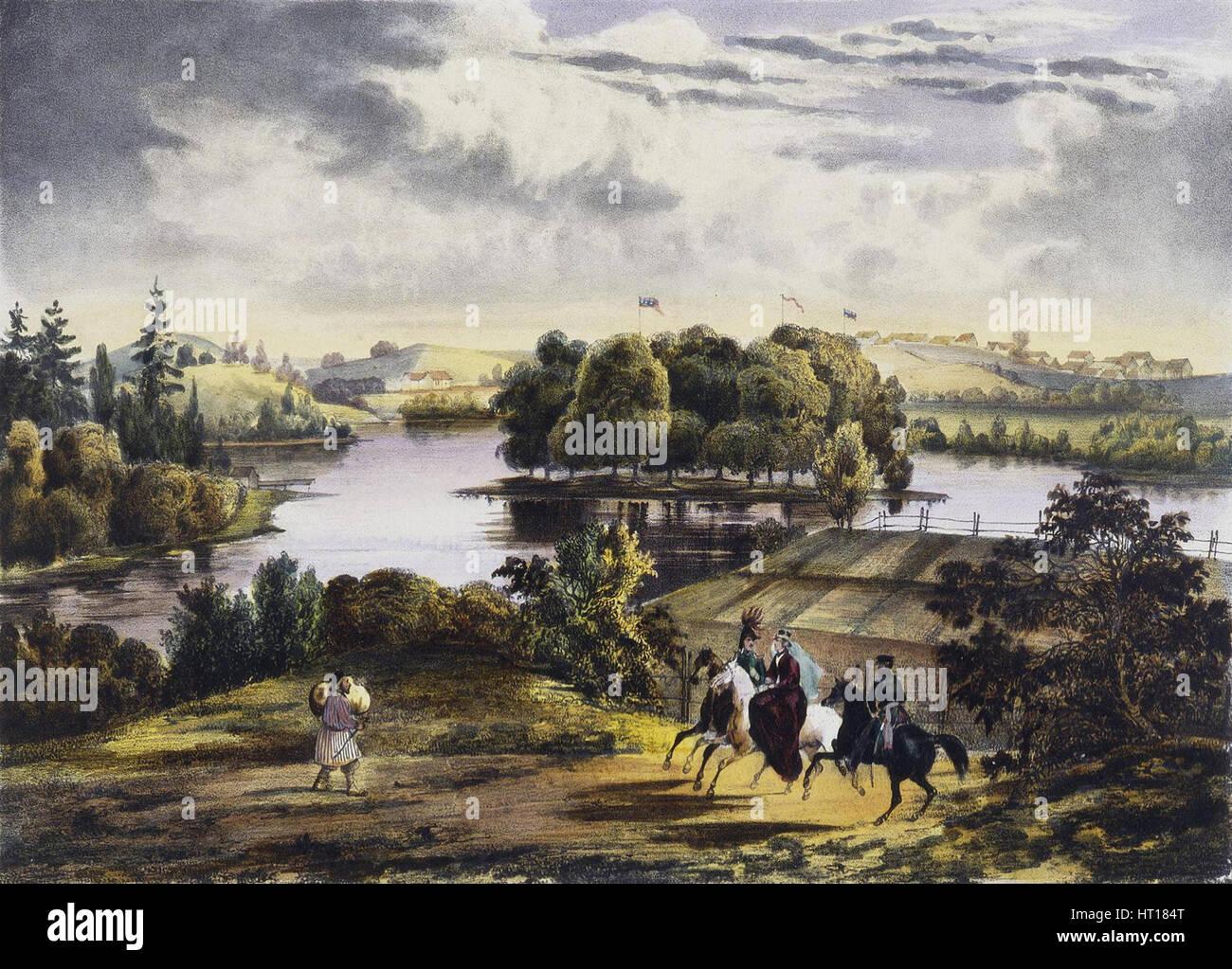 View of Izhora, 1833. Artist: Tirpeune, Adam (active 1830s) - Stock Image