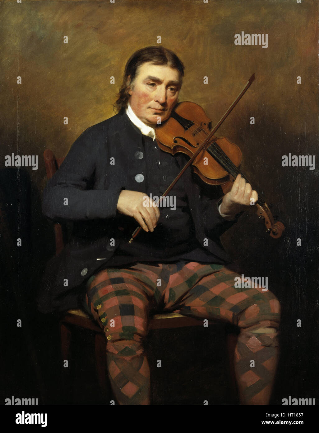 Portrait of the Violinist and composer Niel Gow (1727-1807), 1787. Artist: Raeburn, Sir Henry (1756-1823) - Stock Image