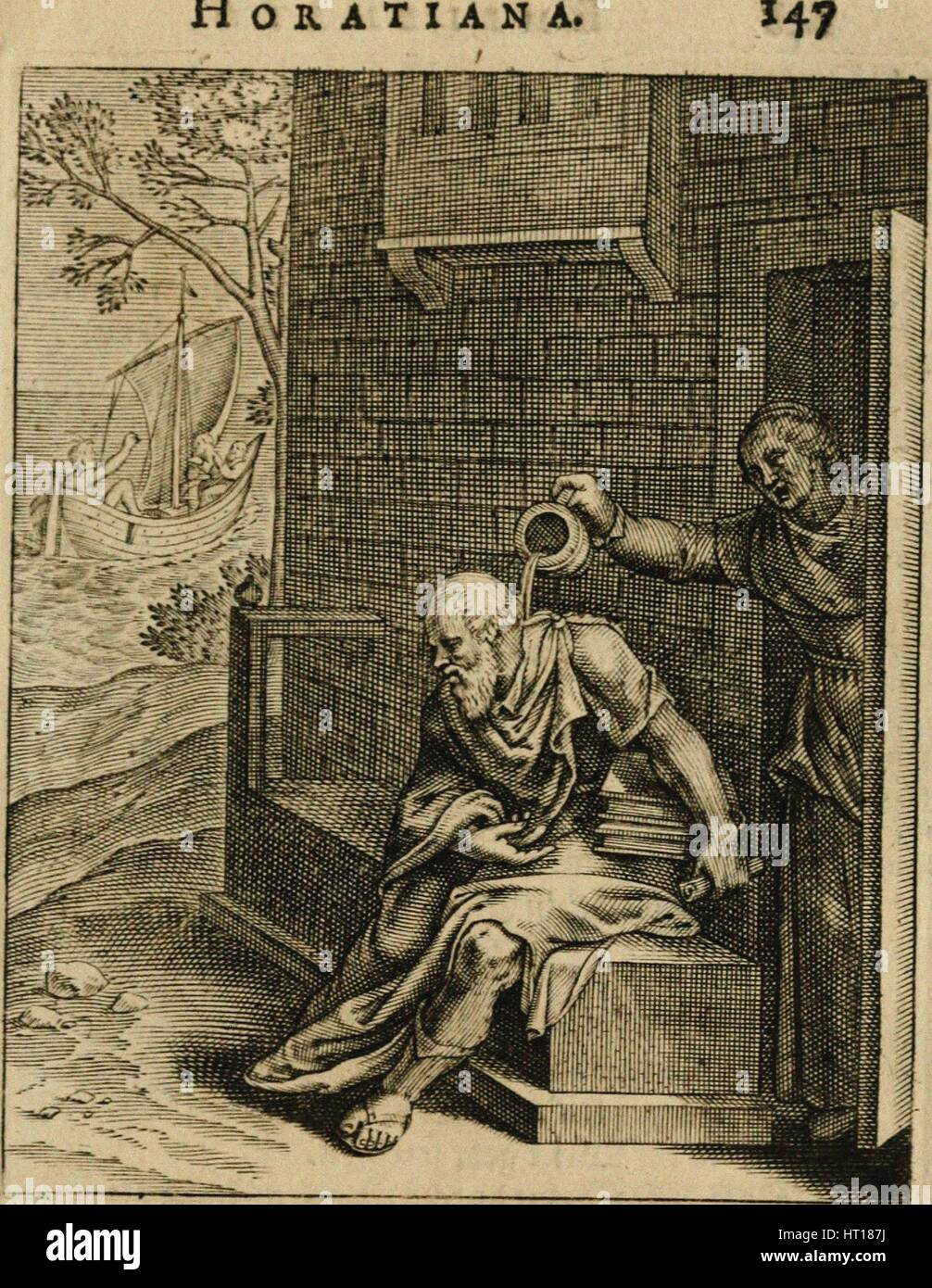 Xanthippe emptying a chamber pot over Socrates. (From Emblemata Horatiana), 1607. Artist: Veen, Otto van (1556-1629) - Stock Image