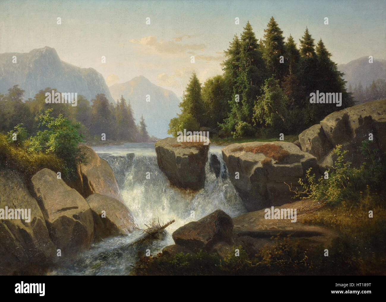 Mountain landscape with waterfall, c. 1853. Artist: Kosárek, Adolf (1830-1859) - Stock Image