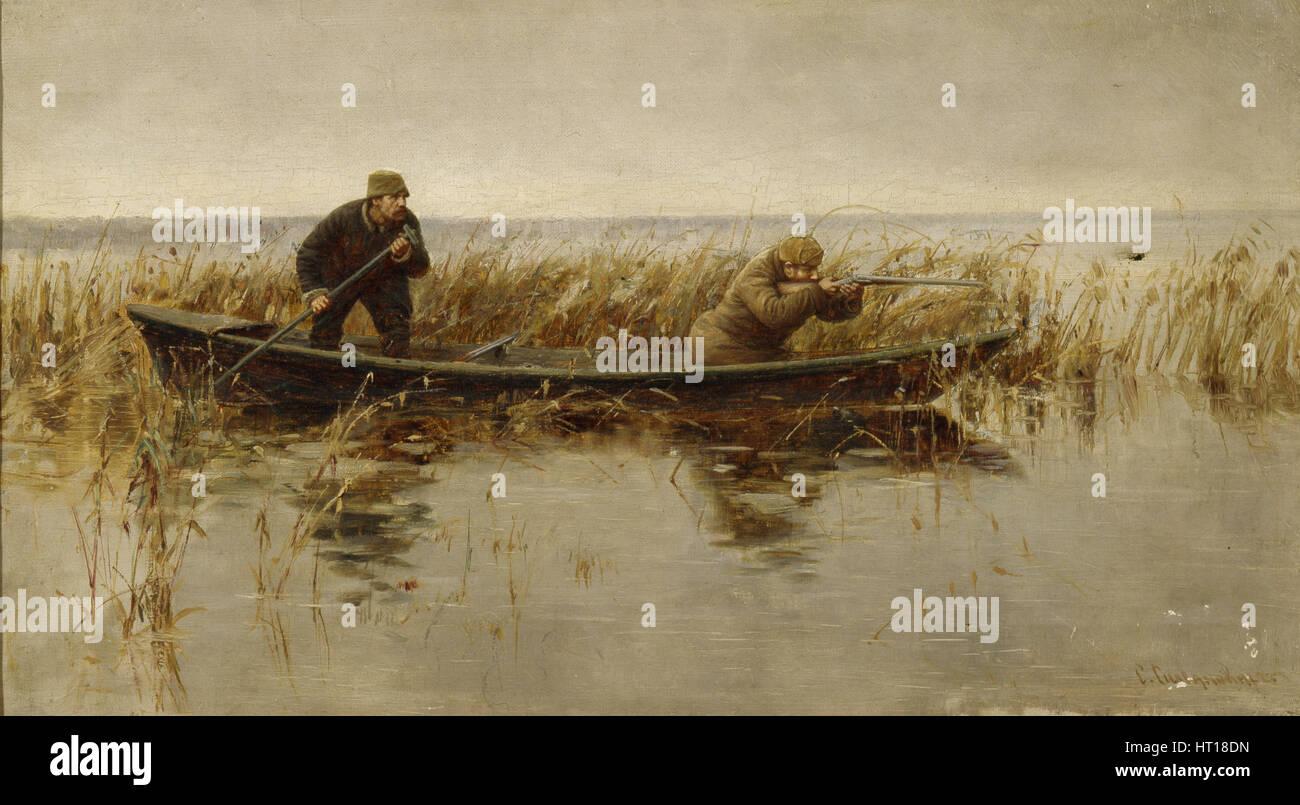 Duck hunt, Second Half of the 19th century. Artist: Silvanovich, S. (active 1860s-1880s) - Stock Image