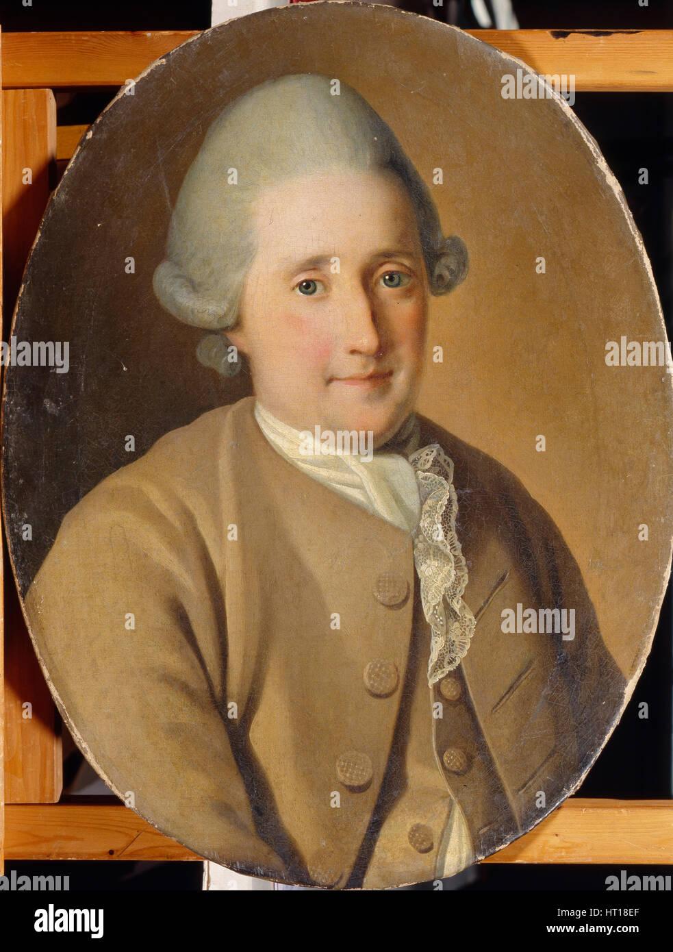 Portrait of Mikhail Gavrilovich Kozhukhov. Artist: Christineck, Carl Ludwig Johann (1732/3-1792/4) - Stock Image