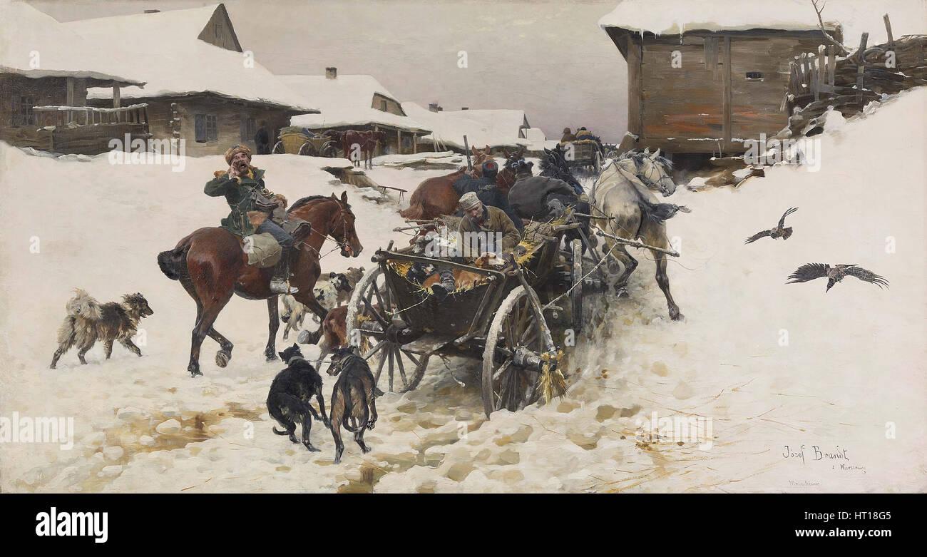 Departure for the Hunt. Artist: Brandt, Jozef (1841-1915) - Stock Image