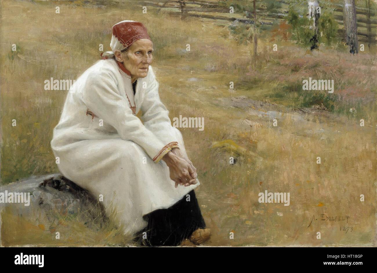 Larin Paraske, 1893. Artist: Edelfelt, Albert Gustaf Aristides (1854-1905) Stock Photo