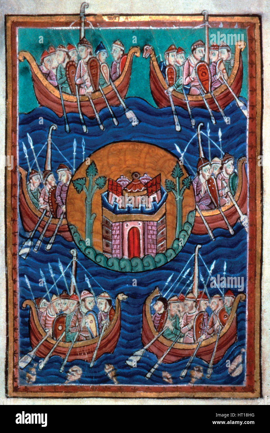 Viking ships arriving in Britain, ca 1130. Artist: Abbo of Fleury (c. 945-1004) - Stock Image
