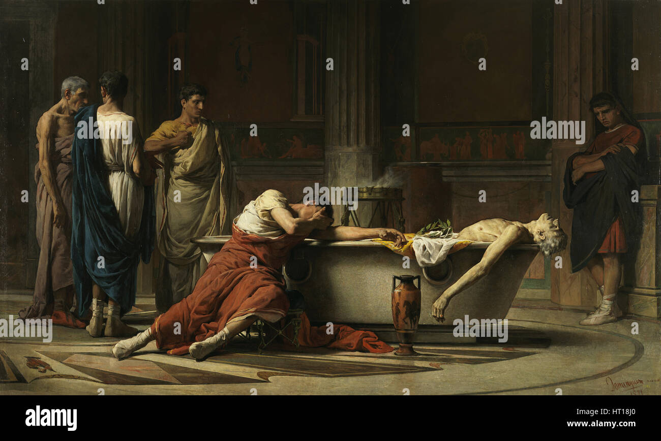 The death of Seneca, 1871. Artist: Domínguez Sánchez, Manuel (1840-1906) - Stock Image