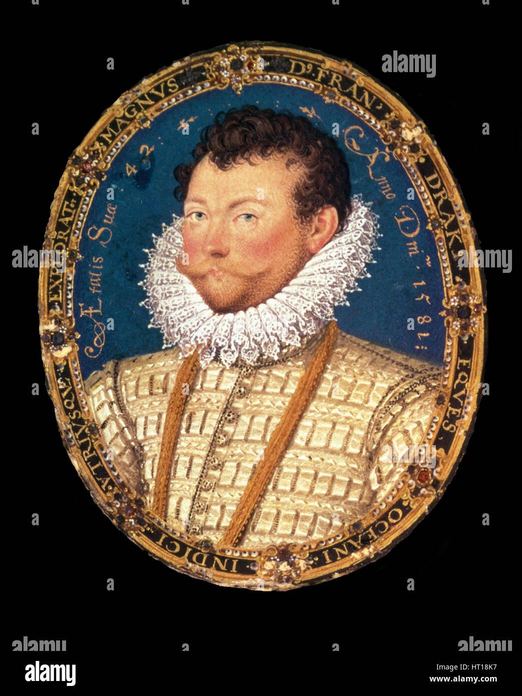 Portrait of Sir Francis Drake, 1581. Artist: Hilliard, Nicholas (c. 1547-1619) - Stock Image