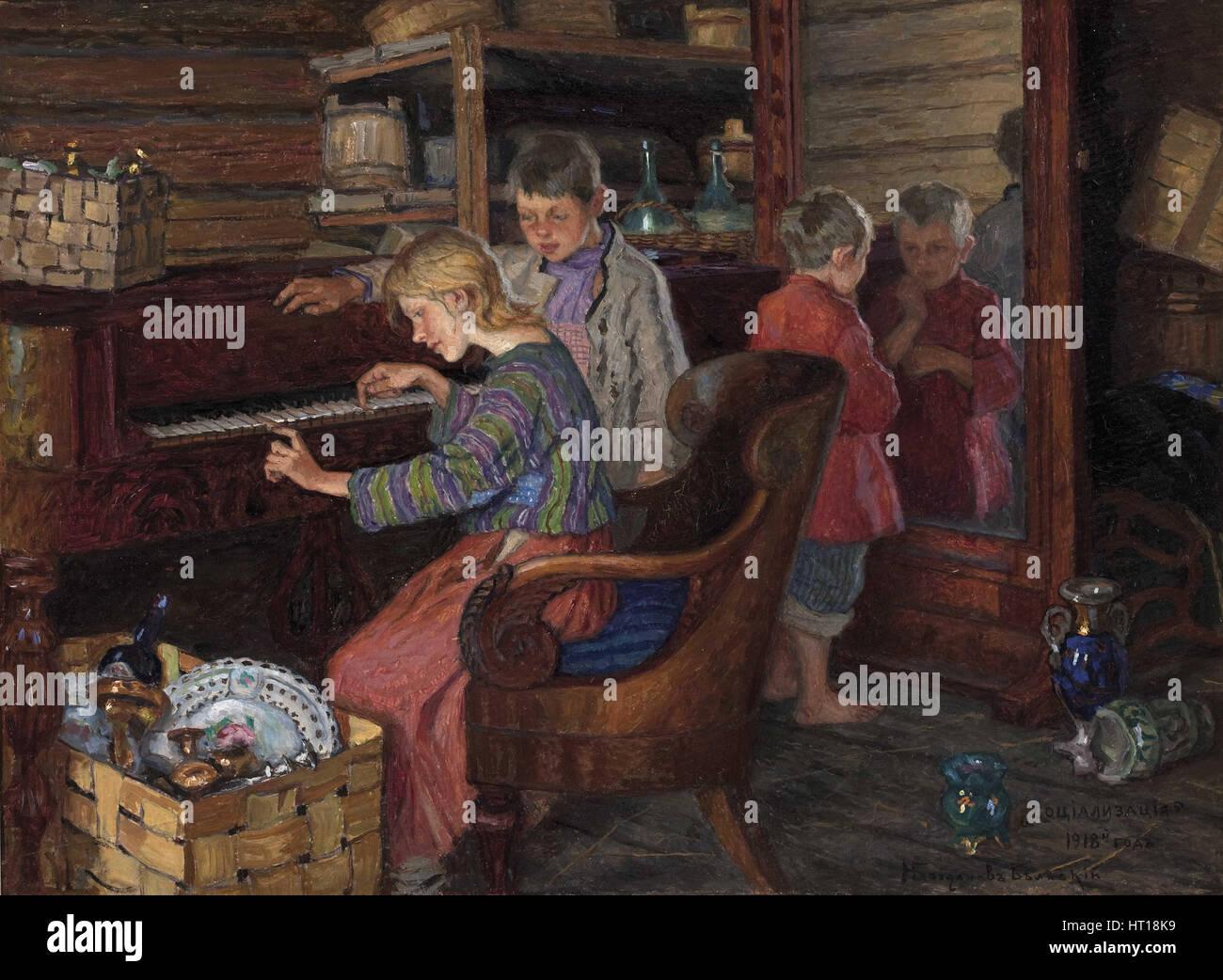 The Socialization, 1918. Artist: Bogdanov-Belsky, Nikolai Petrovich (1868-1945) - Stock Image