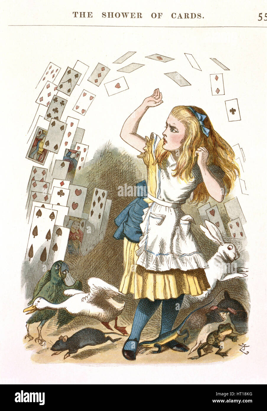 The Shower of Cards. Illustration for Alice in Wonderland by L. Carroll, 1890. Artist: Tenniel, Sir John (1820-1914) - Stock Image