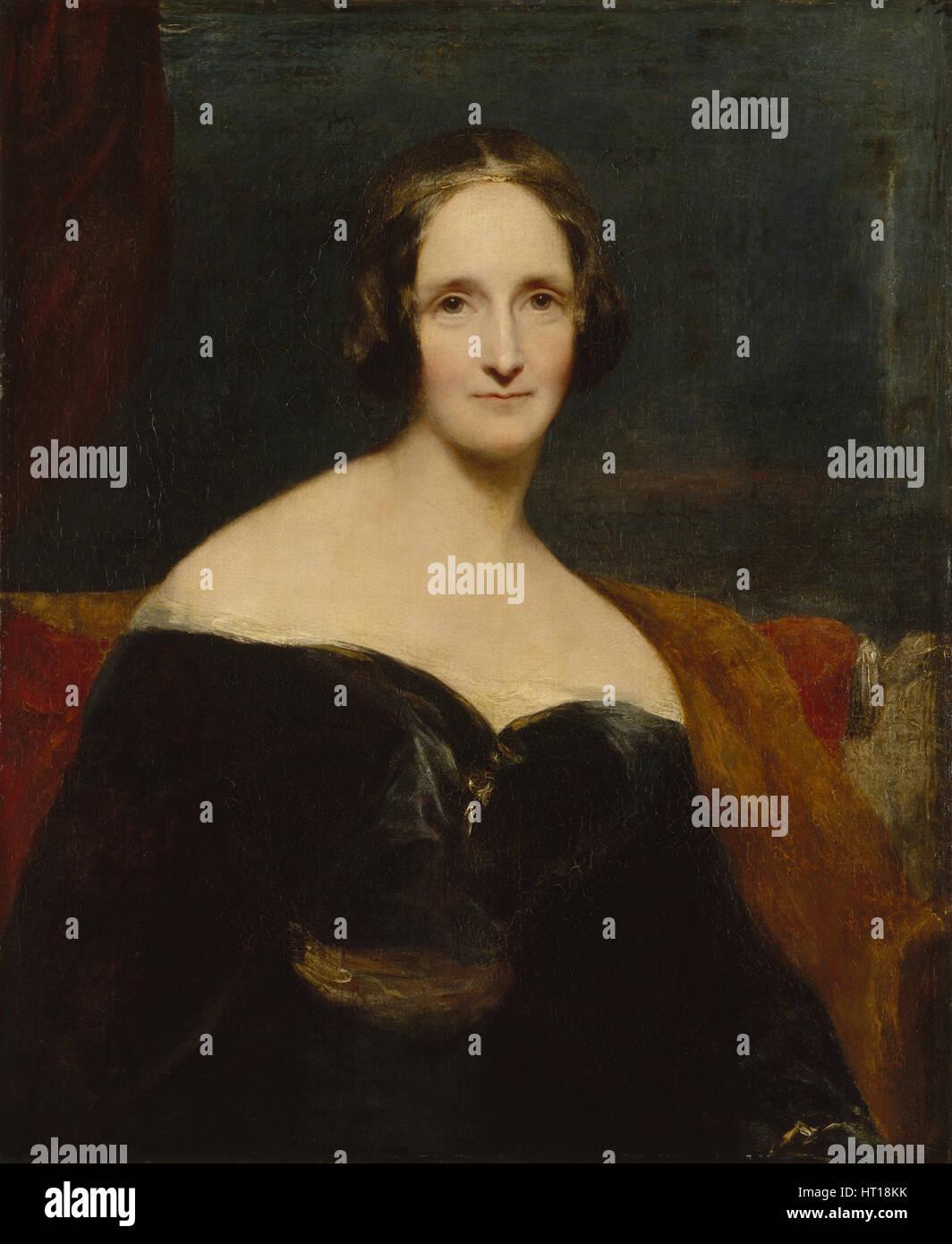 Mary Shelley, 1840. Artist: Rothwell, Richard (1800-1868) - Stock Image