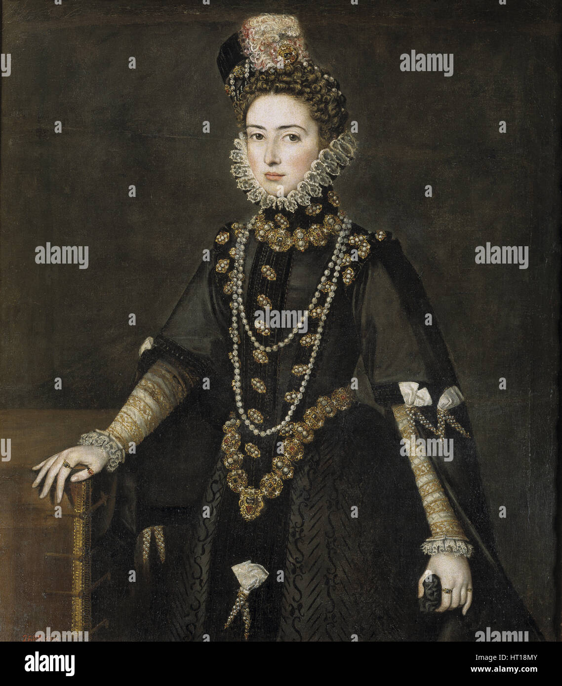 Portrait of the Infanta Catherine Michelle of Spain (1567-1597), 1584-1585. Artist: Sánchez Coello, Alonso - Stock Image