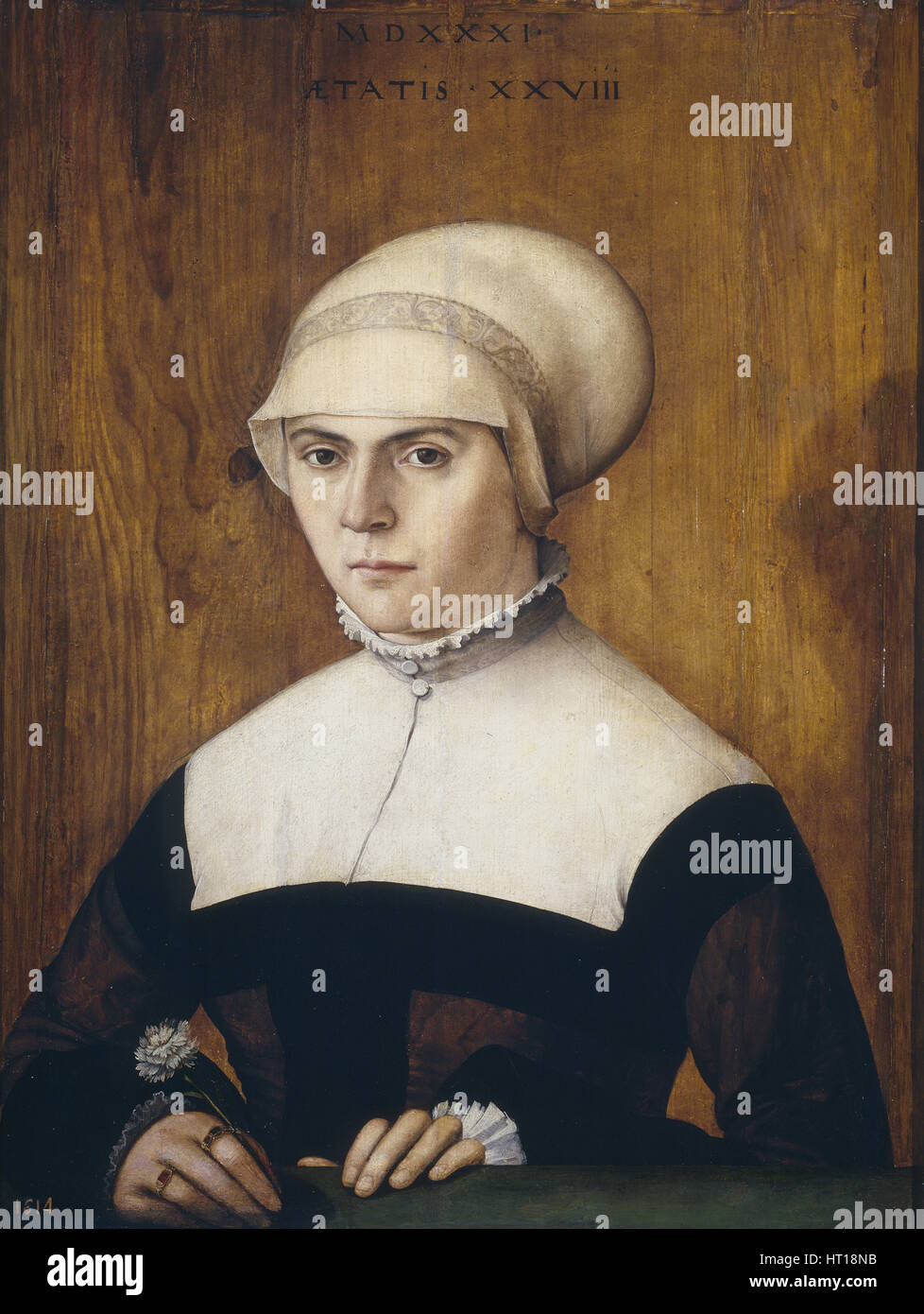 The wife of Jörg Zörer, at the age of 28, 1531. Artist: Amberger, Christoph (ca. 1500-1562) - Stock Image