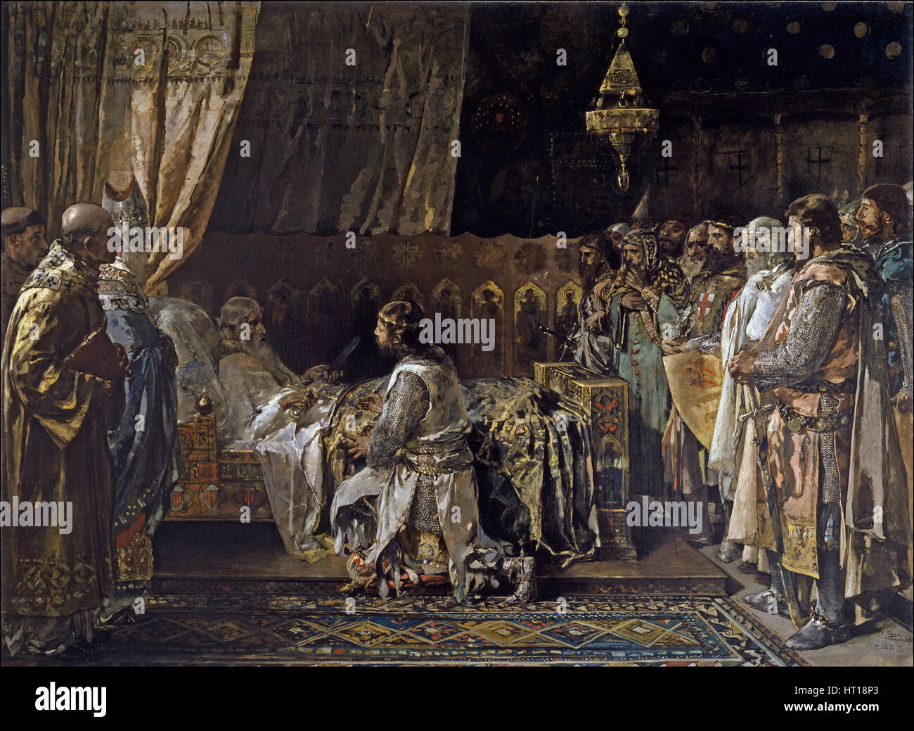 King James I the Conqueror Gives His Sword to His Son, Pedro, 1881. Artist: Pinazo Camarlench, Ignacio (1849-1916) - Stock Image