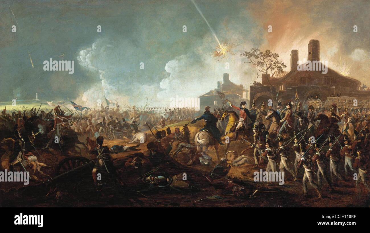 The Duke of Wellington at la Haye Sainte. The Battle of Waterloo. Artist: Sadler, William (1782-1839) Stock Photo