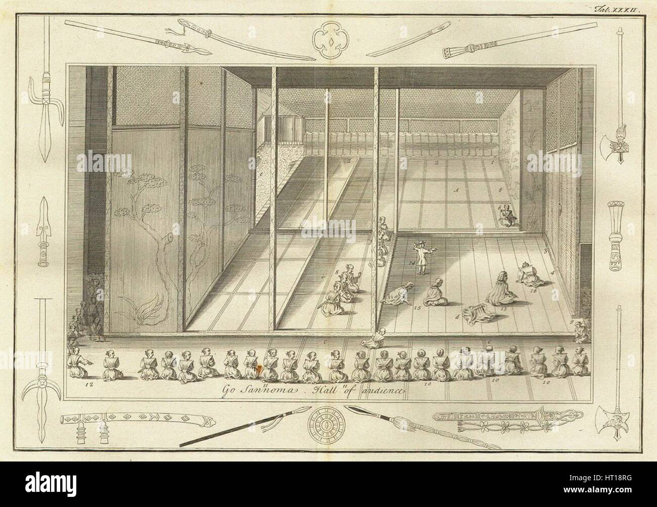The hall of audience of the Dutch Ambassadors. (From The History of Japan by Engelbert Kaempfer), 17 Artist: Anonymous - Stock Image