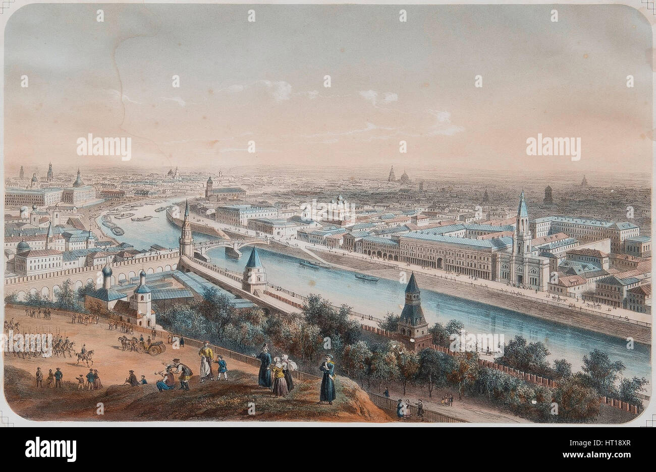 Panoramic view of Moscow, 1820s. Artist: Deroy, Isidore Laurent (1793-1886) - Stock Image
